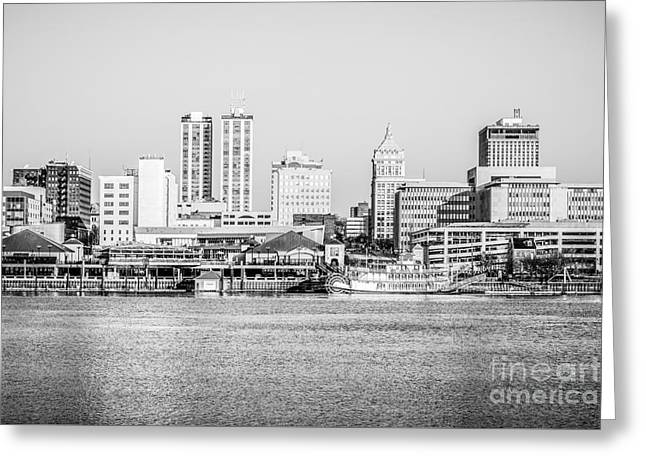 Peoria Skyline Black And White Picture Greeting Card