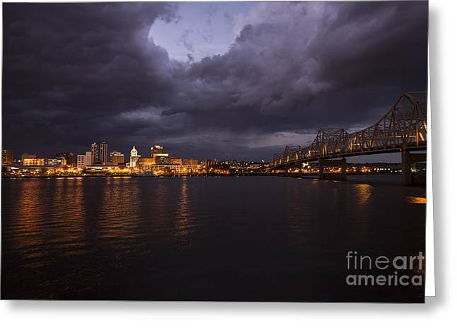 Peoria Stormy Cityscape Greeting Card by Andrea Silies