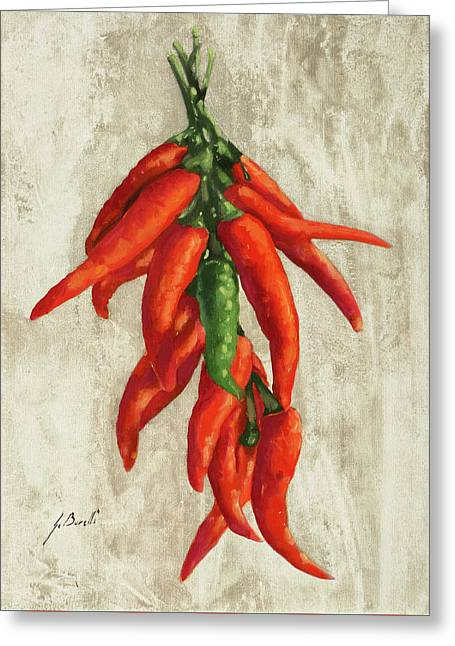 Peperoncini Greeting Card by Guido Borelli