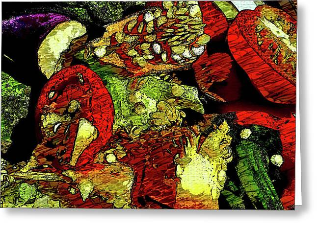 Pepper Eggplant Scraps  Greeting Card by Mark Victors