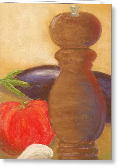 Peppermill With Italian Vegetables Greeting Card