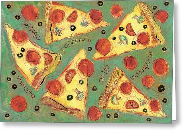 Recipes Greeting Cards - Pepperoni Pizza Greeting Card by Jen Norton