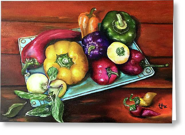 Peppers And A Turquoise Tray Greeting Card