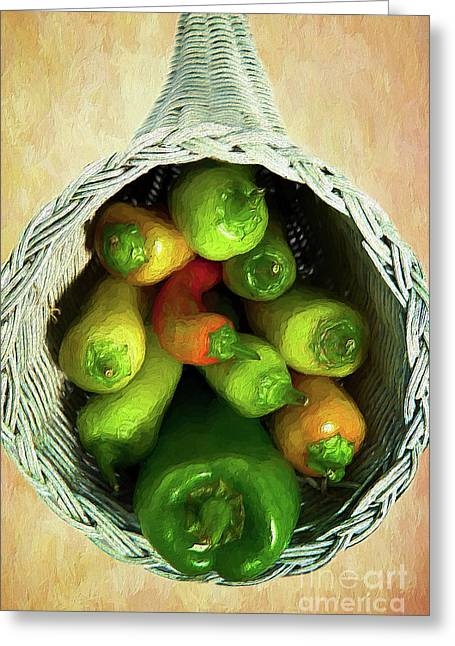 Greeting Card featuring the painting Peppers In A Horn Of Plenty Basket Ap by Dan Carmichael