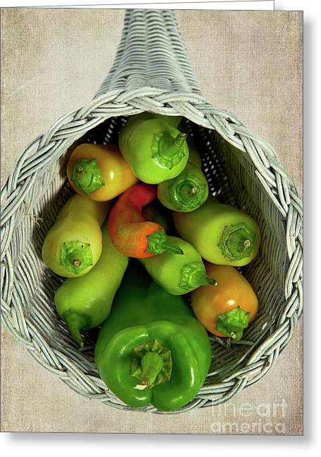 Greeting Card featuring the photograph Peppers In A Horn Of Plenty Basket by Dan Carmichael