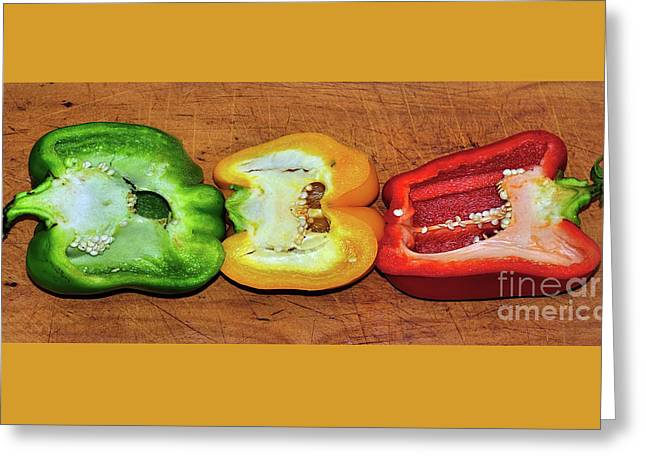 Greeting Card featuring the photograph Peppers In A Row By Kaye Menner by Kaye Menner