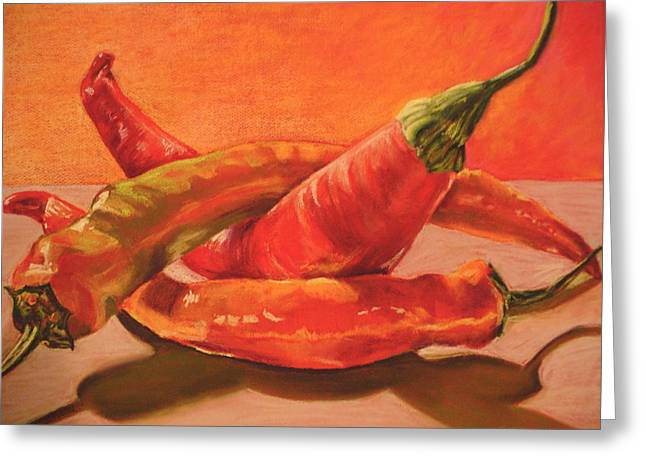 Culinary s Drawings Greeting Cards - Peppers Playing Twister Greeting Card by Outre Art  Natalie Eisen
