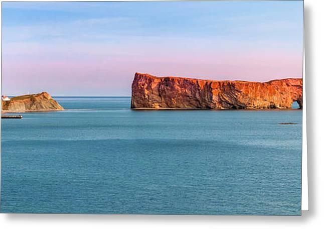 Perce Rock Panorama At Sunset Greeting Card