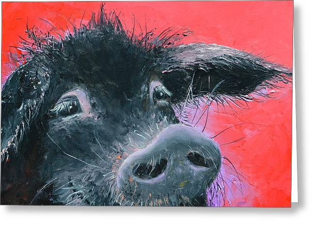 Percival The Black Pig Greeting Card by Jan Matson