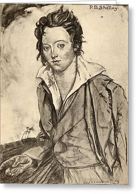 Percy Bysshe Shelley, 1792-1822 Greeting Card by Vintage Design Pics