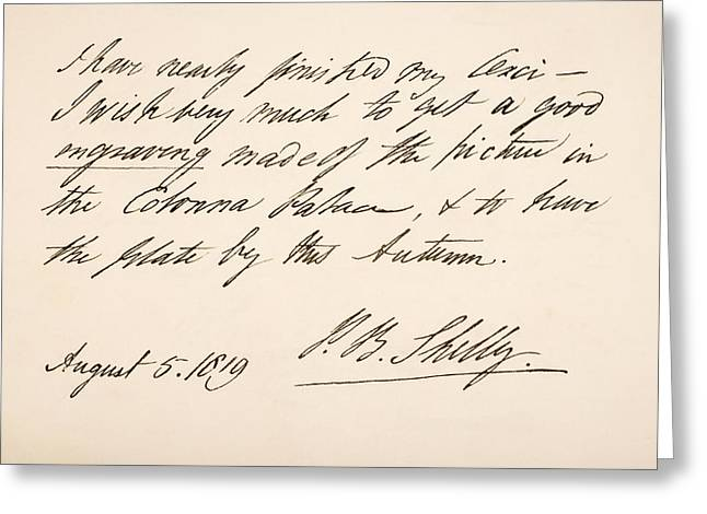 Percy Bysshe Shelley, 1792 Greeting Card by Vintage Design Pics