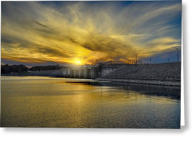 Percy Priest Dam At Sunset Greeting Card by Steven  Michael