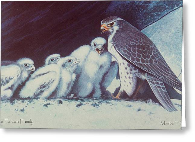Peregrine Falcon Family Greeting Card by Marte Thompson