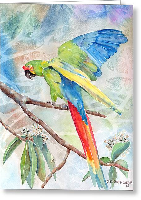 Macaw Greeting Cards - Perfect Landing Greeting Card by Arline Wagner