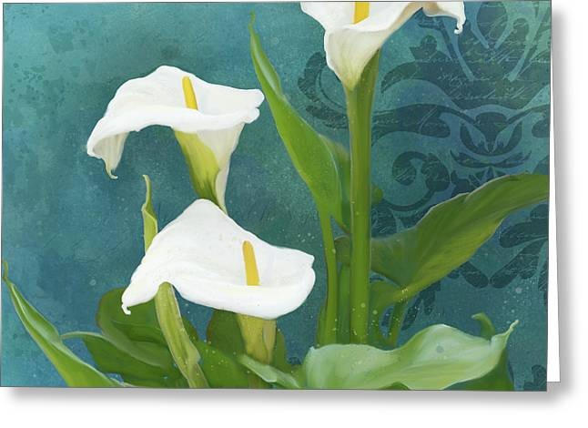Greeting Card featuring the painting Perfection - Calla Lily Trio by Audrey Jeanne Roberts