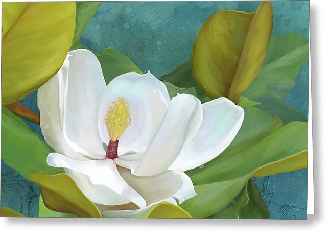 Greeting Card featuring the painting Perfection - Magnolia Blossom Floral by Audrey Jeanne Roberts