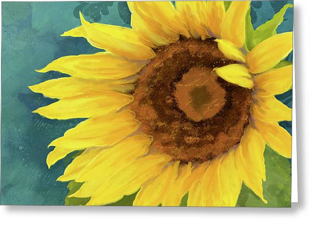 Greeting Card featuring the painting Perfection - Russian Mammoth Sunflower by Audrey Jeanne Roberts