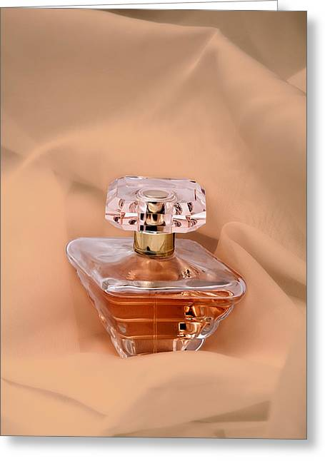 Perfume Bottle Still Life IIi In Peach Greeting Card by Tom Mc Nemar