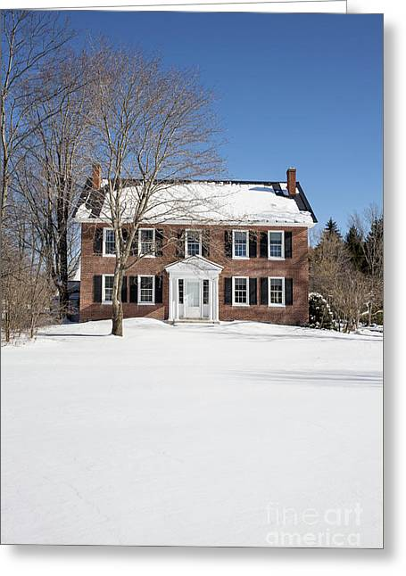 Period Vintage New England Brick House In Winter Greeting Card by Edward Fielding