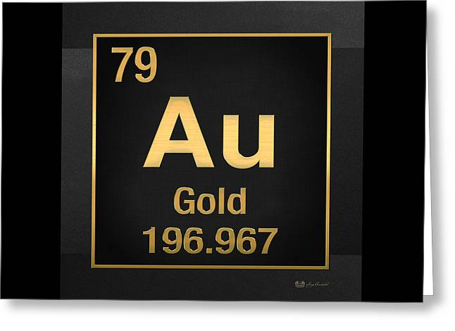 Periodic Table - Gold On Black Greeting Card