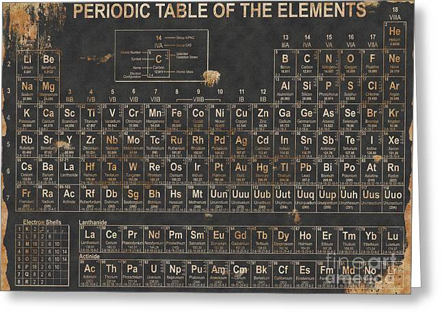 Periodic Table Grunge Style Greeting Card by Christopher Williams