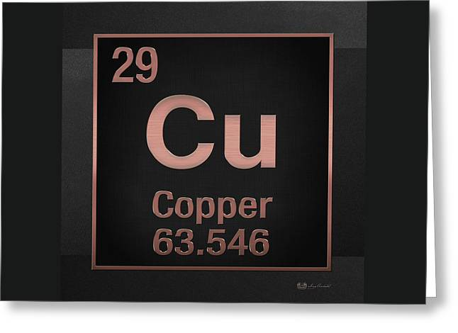 Periodic Table Of Elements - Copper - Cu - Copper On Black Greeting Card by Serge Averbukh
