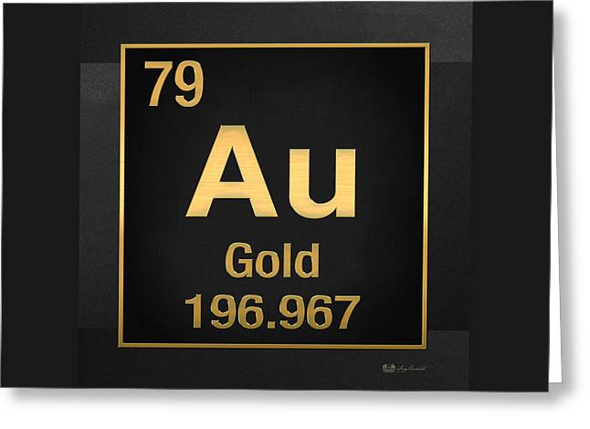 Periodic Table Of Elements - Gold - Au - Gold On Black Greeting Card by Serge Averbukh