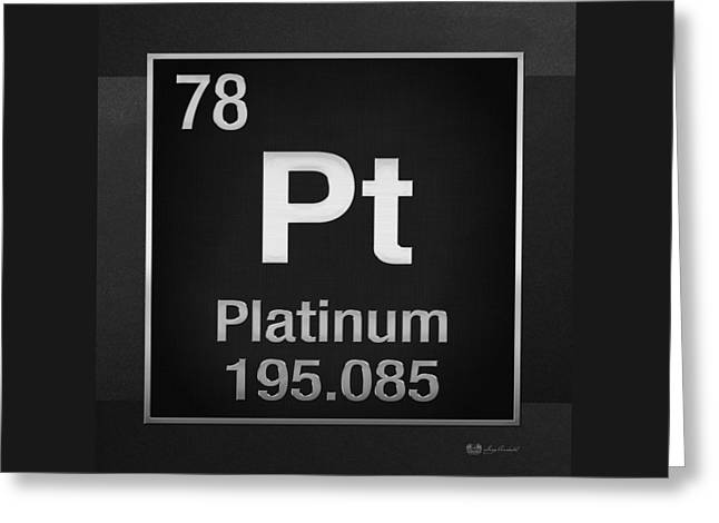 Periodic Table Of Elements - Platinum - Pt - Platinum On Black Greeting Card by Serge Averbukh