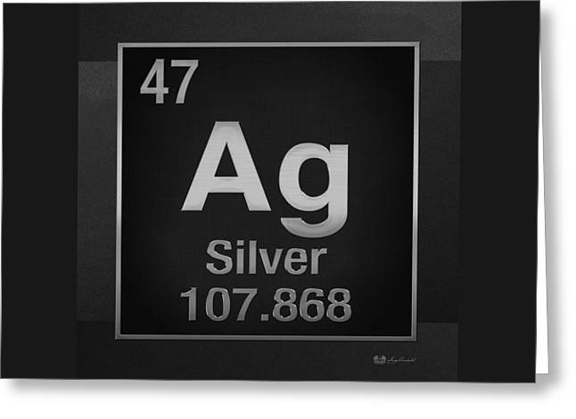Periodic Table Of Elements - Silver - Ag - Silver On Black Greeting Card by Serge Averbukh