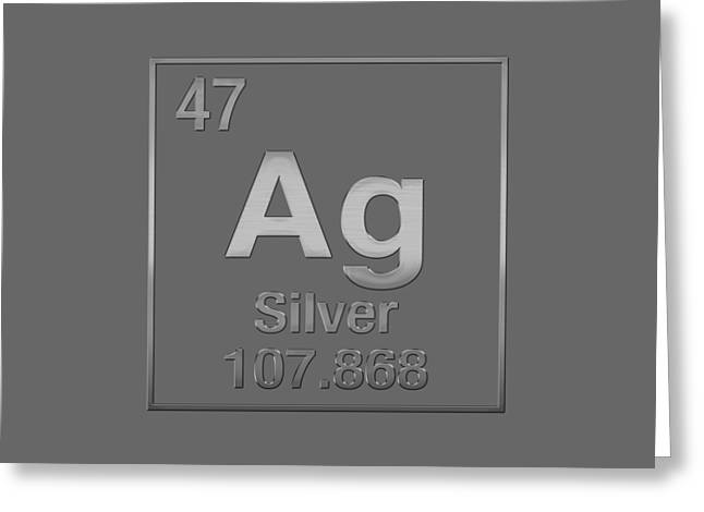 Periodic Table Of Elements - Silver - Ag - Silver On Silver Greeting Card by Serge Averbukh
