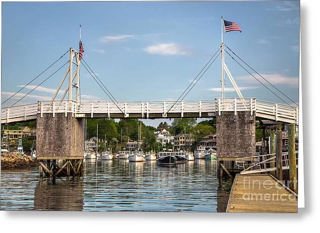 Perkins Cove Bridge Greeting Card by Benjamin Williamson