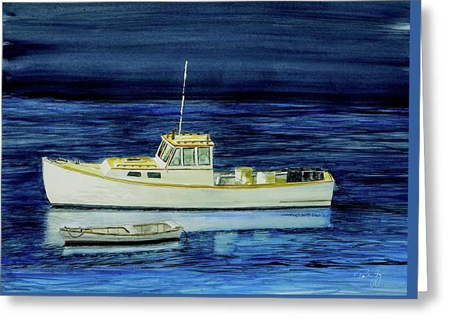 Perkins Cove Lobster Boat And Skiff Greeting Card by Paul Gaj