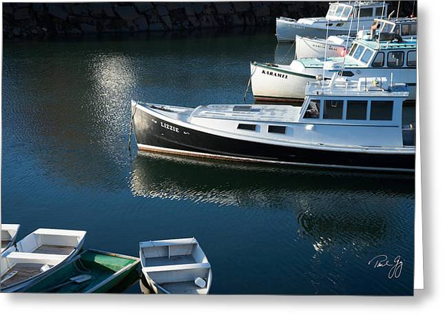 Perkins Cove Lobster Boats One Greeting Card by Paul Gaj