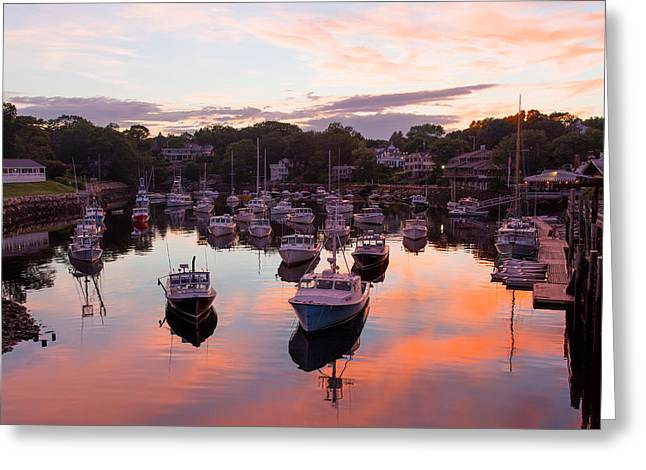 York Beach Pyrography Greeting Cards - Perkins Cove Sunset Greeting Card by Stewart Mellentine