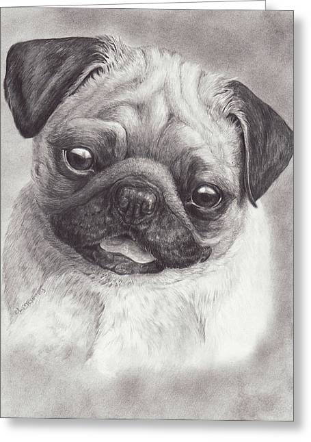 Perky Pug Greeting Card