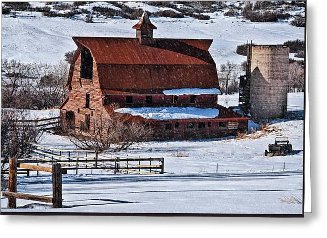 Perry Park Barn Greeting Card by Priscilla Burgers