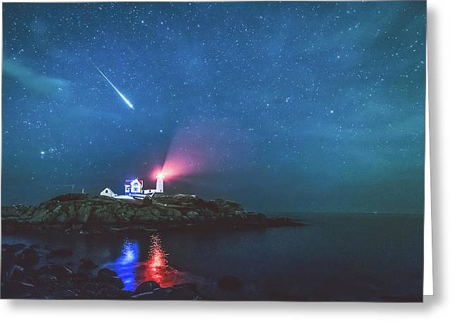 Perseid Meteor At Nubble Light Greeting Card by Ryan McKee