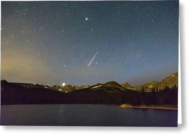 Greeting Card featuring the photograph Perseid Meteor Shower Indian Peaks by James BO Insogna