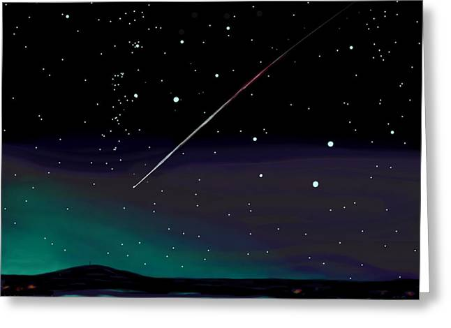Greeting Card featuring the digital art Perseid Meteor Shower  by Jean Pacheco Ravinski