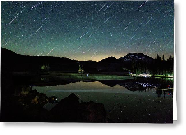 Perseids At Sparks Lake Greeting Card by Cat Connor