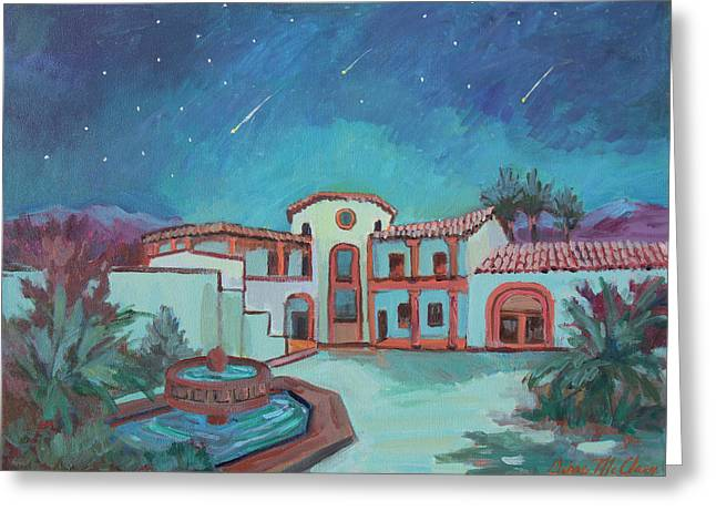 Greeting Card featuring the painting Perseids Meteor Shower From La Quinta Museum by Diane McClary