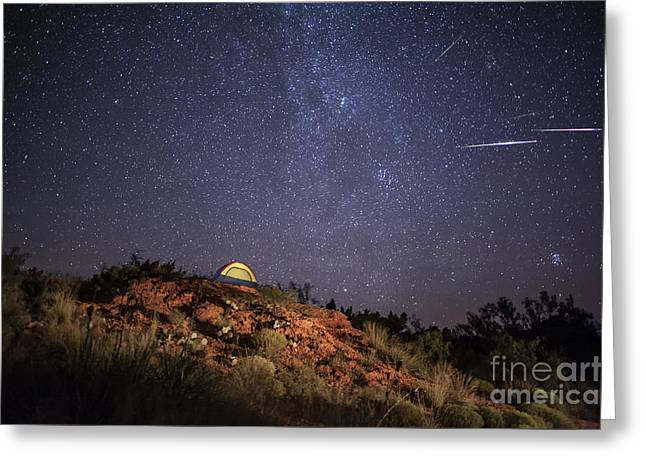 Perseids Over Caprock Canyons Greeting Card by Melany Sarafis