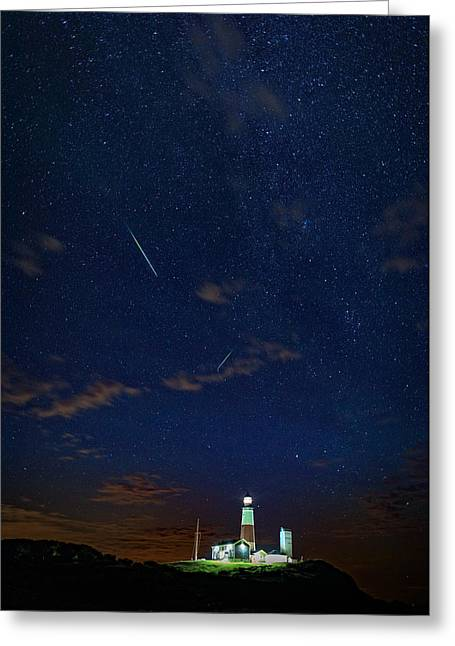 Perseids Over Montauk Point Greeting Card by Rick Berk