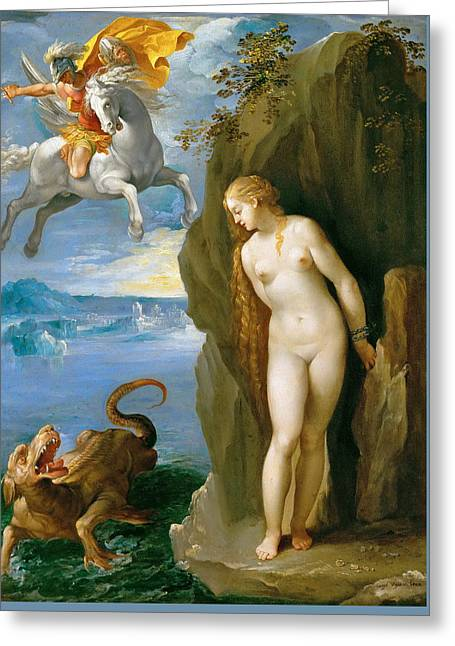 Perseus And Andromeda Greeting Card by Giuseppe Cesari