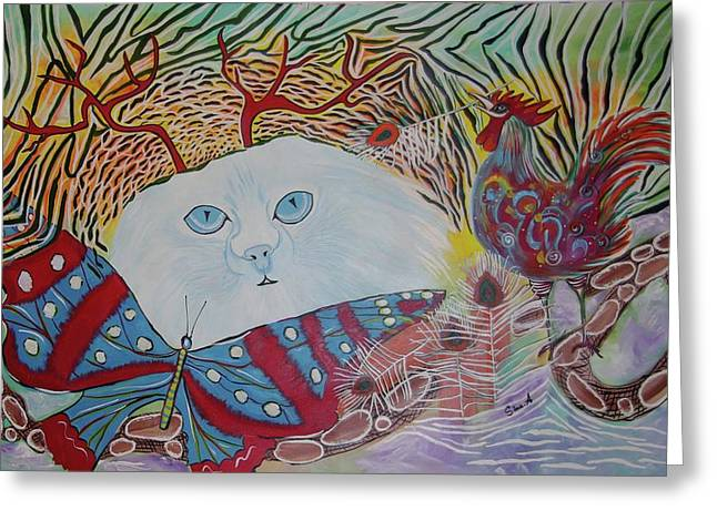 Greeting Card featuring the painting Persian Cat by Sima Amid Wewetzer