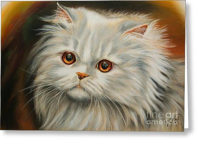 Persian Cat Greeting Card by Valentina Vassilieva