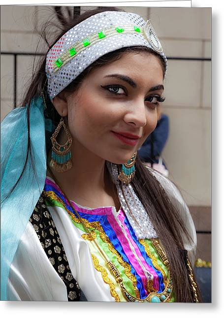 Persian Day Parade Nyc 2017 Persian Woman In Traditional Dress Greeting Card by Robert Ullmann