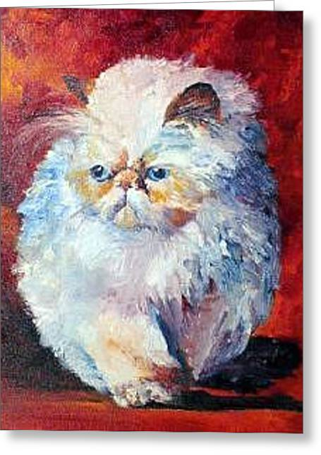 Persian Fluffy Cat Greeting Card by Christy  Freeman