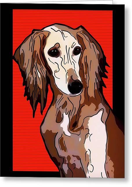 Persian Greyhound - Saluki Greeting Card by Alexey Bazhan