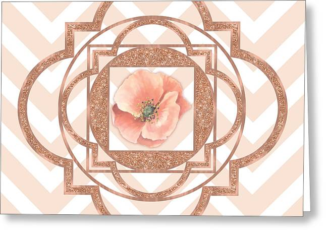 Persian Poppy, Rose Gold Quatrefoil, Chevron Greeting Card by Tina Lavoie